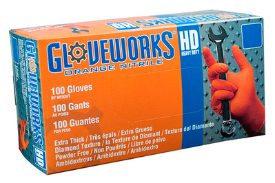 Ammex GWON Gloveworks Orange Nitrile Glove
