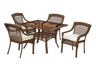 Hampton Bay Spring Haven 5 Piece All Weather Wicker Patio Dining Set