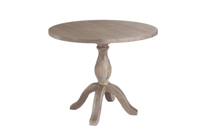 Cost Plus World Market Round Weathered Gray Wood Jozy Drop Leaf Table