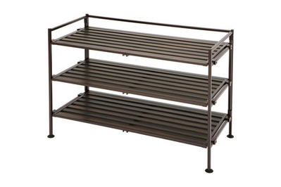Seville Classics 3-Tier Resin Slat Utility Shoe Rack