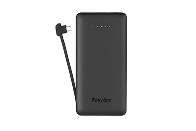 EasyAcc 6000mAh Ultra Slim Power Bank with Built-in Cable