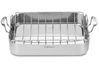 "Stainless-Steel Restaurant Quality High Handle Roasting Pan 15/"" x 12/"" x 2/"""