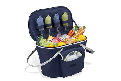 Picnic at Ascot Collapsible Insulated Picnic Basket with Cutlery Set